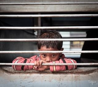 Boy, train, Alleppey, India