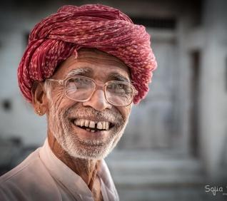 Man smiling, Narlai, India.