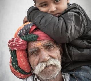 grandmother and grandson, Narlai, India.